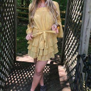 Free people yellow ruffle dress